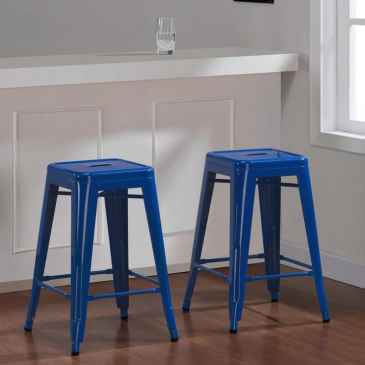 Tabouret 24 Inch Baja Blue Metal Counter Stool Set Of 2