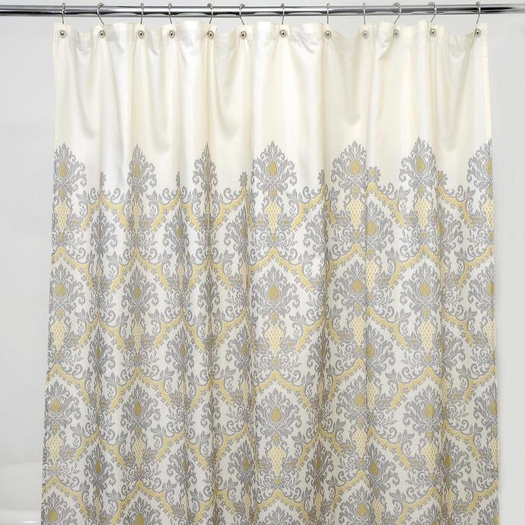 Grey-damask 100-percent Polyester Shower Curtain ...
