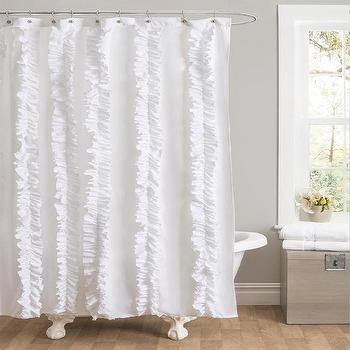 Bath - Lush Decor Belle White Ruffled Shower Curtain | Overstock.com - white shower curtain, white ruffled shower curtain, white ruffle shower curtain,