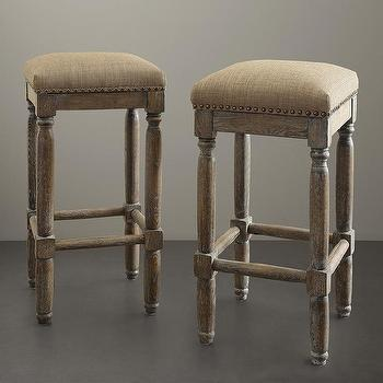 Seating - Renate Linen Bar Stools (Set of 2) | Overstock.com - reclaimed wood and linen barstool, backless barstool with linen seat, backless reclaimed barstool with linen seat,
