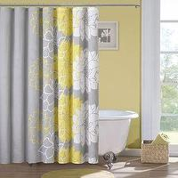 Bath - Madison Park Brianna Sateen Printed Shower Curtain | Overstock.com - gray and yellow floral shower curtain, gray yellow and white floral shower curtain, gray and yellow modern floral shower curtain,