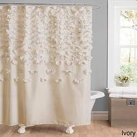 Bath - Lush Decor Lucia Shower Curtain | Overstock.com - ivory shower curtain, ivory floral shower curtain, ivory ruffled shower curtain,