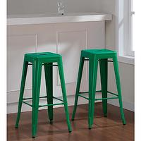 Seating - Tabouret 30-inch Emerald Metal Bar Stools (2) | Overstock.com - emerald green barstool, emerald green backless barstool, emerald green metal barstool, emerald green iron barstool,
