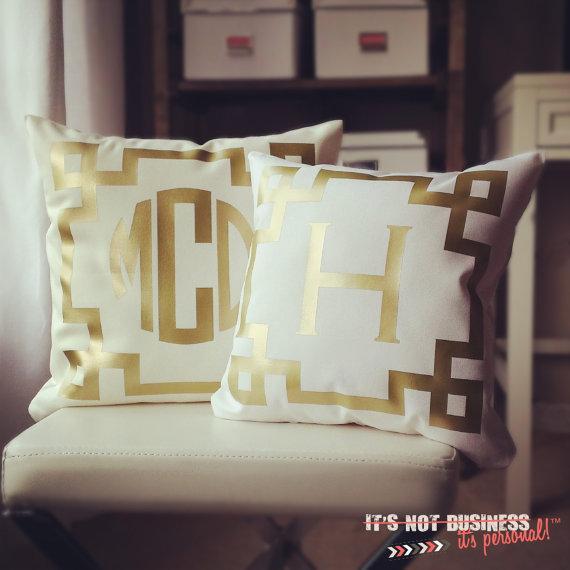 Monogram Throw Pillow Etsy : Monogram Throw Pillow Cover Cream Metallic by itsnotbusinessshop I Etsy