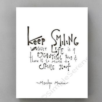 Art/Wall Decor - Keep Smiling... Marilyn Monroe wall Quote by SimpleSerene I Etsy - marilyn monroe wall quote, black and white marilyn monroe quote, black and white keep smiling wall art,