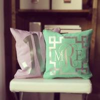 Pillows - Monogram Throw Pillow Cover Teal Metallic by itsnotbusinessshop - mint green and silver monogrammed pillow, lilac and silver monogrammed pillow, mint green and silver monogrammed greek key pillow,