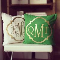 Pillows - Monogram Throw Pillow Cover Kelly Green by itsnotbusinessshop I Etsy - green and gold monogrammed pillow, green and metallic gold monogrammed pillow, cream and gold monogrammed pillow, cream and metallic gold monogrammed pillow,
