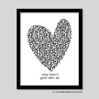 Art/Wall Decor - heart graphic print grow with me black and white by EatSayLove I Etsy - grow with me art print, grow with me wall decor, black and white heart grow with me art print,