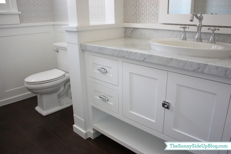 Carrara Marble Countertop Transitional Bathroom