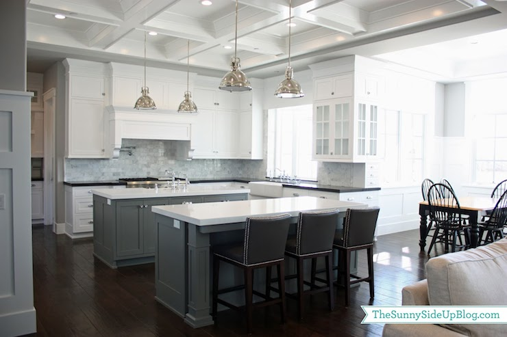Double kitchen islands transitional kitchen benjamin for Chelsea gray kitchen cabinets