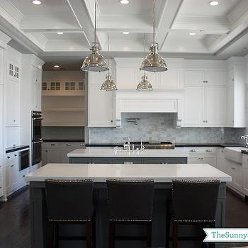 Double Kitchen Islands, Transitional, kitchen, Benjamin Moore Chelsea Gray, Sunny Side Up