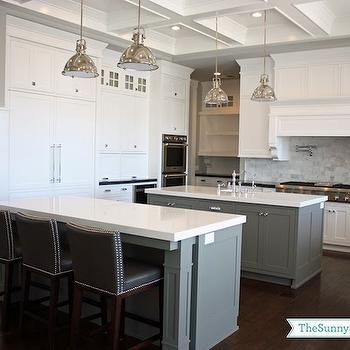 Gray KItchen Islands, Transitional, kitchen, Benjamin Moore Chelsea Gray, Sunny Side Up