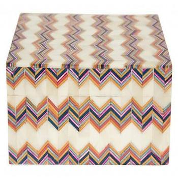 Decor/Accessories - Zig Zag Bone Box | Jayson Home - chervron inlaid box, chevron bone inlaid box, chevron bone inlay box,