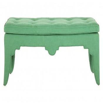 Seating - Vintage Chinoiserie Bench | Jayson Home - jade green bench, jade green tufted bench, jade green chinoiserie bench,
