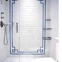 The Renovated Home - bathrooms - walk in shower, seamless glass shower, walk in shower ideas, greek key tiles, greek key shower tiles, greek key accent tiles, blue greek key tiles, greek key border tiles, shower caddy, shower caddies, corner shower caddy, corner shower caddies, mosaic shower floor,