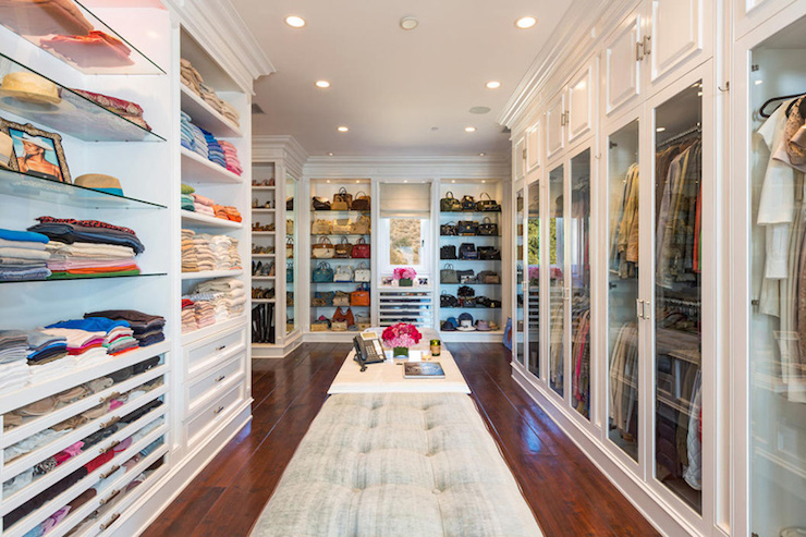 Glass closet doors transitional closet for Doors for walk in closet