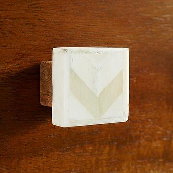 Decor/Accessories - Bone Chevron Knob - Natural | west elm - bone inlaid knob, bone inlay knob, chevron bone knob, chevron bone inlay knob,