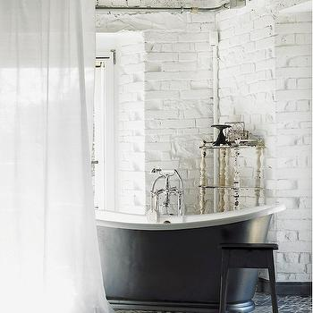 Exposed Brick Walls, Eclectic, bathroom, Elle Decor