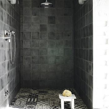 Black and White Mosaic Tiles, Eclectic, bathroom, Elle Decor