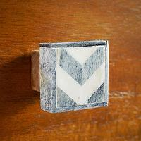 Decor/Accessories - Bone Chevron Knob - Natural/Gray | west elm - bone inlaid knob, bone inlay knob, chevron bone knob, chevron bone inlay knob,