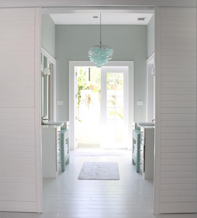 Polished nickel bathroom mirrors - Sherwin Williams Sea Salt Contemporary Bathroom