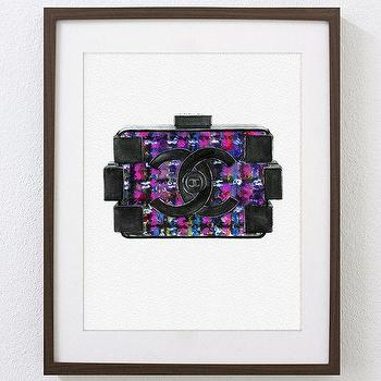 Art/Wall Decor - NOT A PRINT Original Watercolor Painting Fashion by Julia Mikhailiuk theArtForYou - fashion, art, chanel, bag, quilted, lego, cc, tweed, purse, clutch