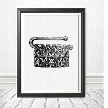 Art/Wall Decor - NOT A PRINT Original Watercolor Painting Fashion by Julia Mikhailiuk theArtForYou - fashion, art, chanel, bag, quilted, clutch, cc, black