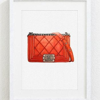 Art/Wall Decor - New collection 2014 Original Watercolor Painting by Julia Mikhailiuk theArtForYou - chanel, bag, art, fashion, wall, purse, leather, chain, quilted