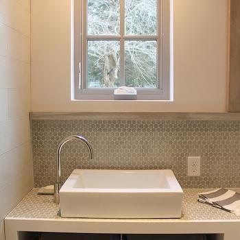 gray penny tile backsplash contemporary bathroom