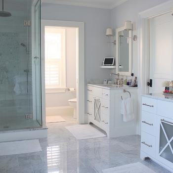 His and Her vanities, Transitional, bathroom, Molly Frey Design