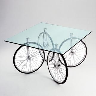 Tables - FontanaArte Tour Table | 2Modern - wheel coffee table, glass topped coffee table with wheel base, glass and wheel coffee table,