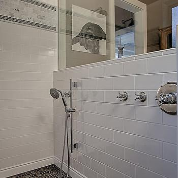 Gray and white bathroom with seamless glass shower partition framing a - Subway Tile Shower Surround Traditional Bathroom Bhg