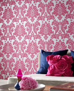 Wallpaper - Graham & Brown Majestic Wallpaper | 2Modern - hot pink and silver damask wallpaper, pink and silver damask wallpaper, hot pink and silver foiled wallpaper, hot pink and silver foil wallpaper,