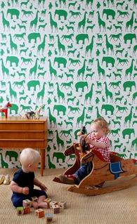 Wallpaper - Ferm Living Animal Farm Wallpaper | 2Modern - animal print wallpaper, modern green and white animal print wallpaper, emerald green and white animal wallpaper, emerald green and white modern animal print wallpaper,