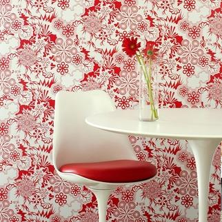 Wallpaper - Flavor Paper Party Girl Wallpaper | 2Modern - red and white floral wallpaper, red and white flower wallpaper, modern red floral wallpaper, modern red and white floral wallpaper,