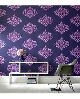 Wallpaper - Graham & Brown Fountain Wallpaper | 2Modern - purple and navy patterned wallpaper, purple and navy indian patterned wallpaper, indian motif wallpaper, purple and navy indian motif wallpaper, purple and navy indonesian motif wallpaper,