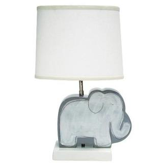 Lighting - Alex Marshall Studios Children's Figure Lamp | 2Modern - gray elephant shaped lamp, kids elephant lamp, gray and white elephant shaped lamp, ceramic elephant shaped table lamp,
