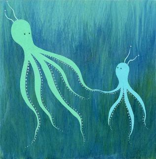 Art/Wall Decor - Melissa Moss You Can Do It Wood Print | 2Modern - turquoise and teal octopus art, turquoise and teal octopus canvas art, blue octopus painting on wood,
