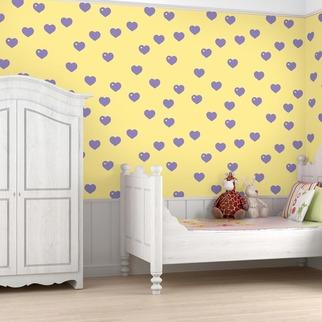 Wallpaper - WallCandy Hearts Temporary Wallpaper | 2Modern - purple and yellow heart patterned wallpaper, lavender and yellow heart wallpaper, lavender and yellow heart print wallpaper, temporary wallpaper, peel and stick kids wallpaper, temporary kids wallpaper,