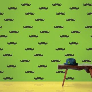 Wallpaper - WallCandy Mustache Temporary Wallpaper | 2Modern - peel and stick wallpaper, temporary wallpaper, green wallpaper with black moustaches, green wallpaper with black mustache pattern, black and green mustache wallpaper,