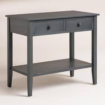 Storage Furniture - Sara Double-Wide Nightstand | World Market - extra wide nightstand, gray bleu nightstand, gray blue nightstand, double wide nightstand, two drawer gray blue nightstand, gray blue wide nightstand,