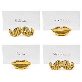 Decor/Accessories - Jonathan Adler Mr & Mrs Muse Brass Place Card Holders Set of 4 I Zinc Door - brass lips place card holder, brass mustache place card holder, modern brass place card holders, novelty brass place card holders,