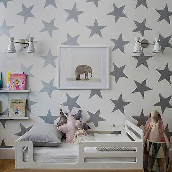 Sissy and Marley - boy's rooms - toddler beds, youth beds, stars wallpaper, sissy and marley wallpaper, gray star wallpaper, white and gray star wallpaper, kids wallpaper, kids room wallpaper, toddler wallpaper, toddler room wallpaper, oeuf beds, oeuf toddler beds, picture ledge, ikea book ledge, book ledge, stripe rug, striped rug, ivory and gray rug, grays tripe rug, gray striped rug, kids rugs, kids beds, kids bookshelf, kids bookshelves, kids book ledge, white and grey kids room, white and grey toddler room, white and gray boy room, ribba picture ledge, ribba book ledge, Lucky Star Wallpaper, Baby Elephant Print, Oeuf Classic Toddler Bed, Ikea Ribba Picture Ledge, Havana 2 Light Wall Sconce, Havana 2 Light Wall Sconce,