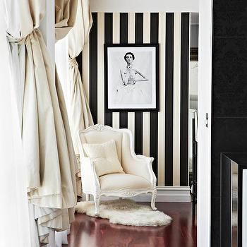 Megan Hess - bathrooms - hall, hall ideas, hall chair, cream chair, french chair, cream french chair, bergere chair, cream berger chair, stripe walls, vertical stripe walls, striped walls, vertical striped walls, ivory and black stripe wall, ivory and black striped wall, cream curtains, cream drapes, cream silk curtains, cream silk drapes, striped hall, stripe hall, stripe hallway, striped hallway,
