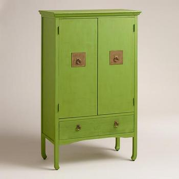 Storage Furniture - Green Davia Hall Cabinet | World Market - asian style green hall cabinet, asian style green cabinet, apple green hall cabinet, apple green cabinet with brass hardware,