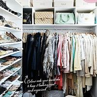 Megan Hess - closets - bag cubbies, handbag cubbies, handbag storage, bag storage, shelves for shoes, shoe shelves, closet, closet ideas, walk in closet, chic closets, purse cubbies,