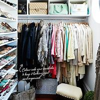 Megan Hess - closets - bag cubbies, handbag cubbies, handbag storage, bag storage, shelves for shoes, shoe shelves, closet, closet ideas, walk in closet, chic closets,