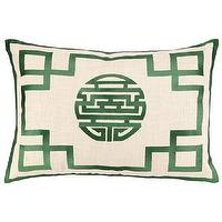 Pillows - DL Rhein Double Happiness Fern Embroidered Pillow I Zinc Door - cream linen pillow with green grosgrain trim, green and cream double happiness pillow, cream pillow with green chinese motif,