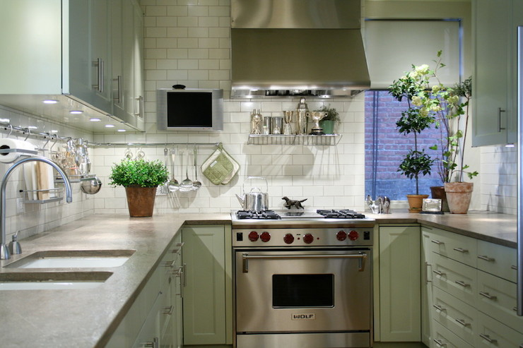 Mint Green Cabinets Transitional Kitchen Laura Bohn