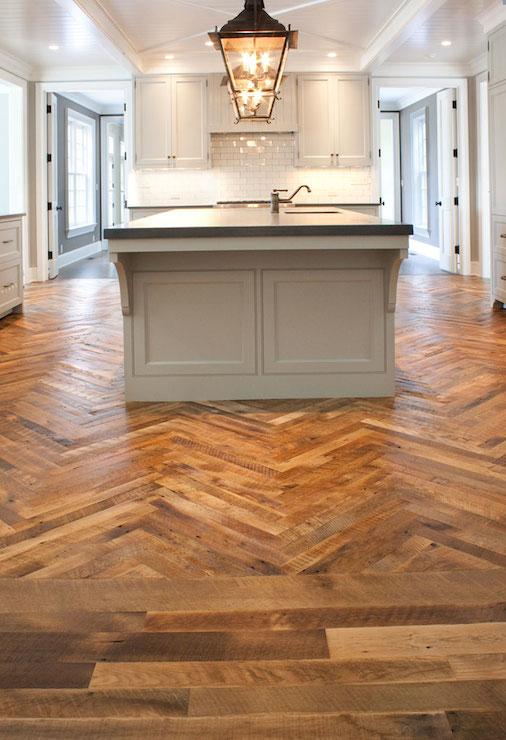 Herringbone Wood Floor Transitional Kitchen Mountain